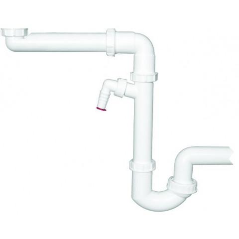 Сифон HL (Hutterer Lechner) 126 экономящий пространство под мойкой, подключение стиральной или посудомоечной машины