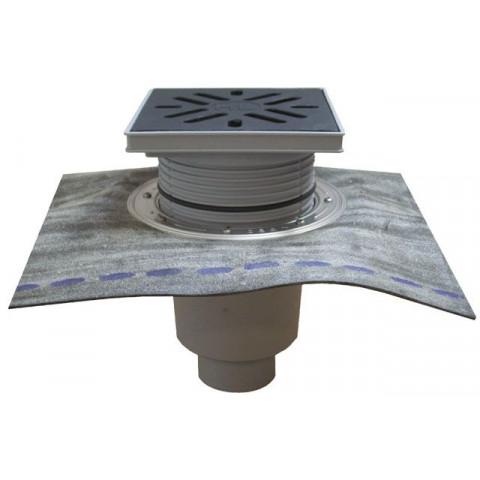 Дворовый трап HL (Hutterer Lechner) 616HL решетка из ПП, нагрузка до 1,5 тонн, битумное полотно