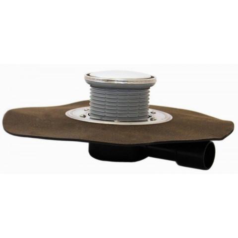 Трап HL (Hutterer Lechner) 510NHR с круглой решеткой из нерж стали, битумным полотном и гидрозатвором